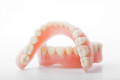 Dentures on a white background